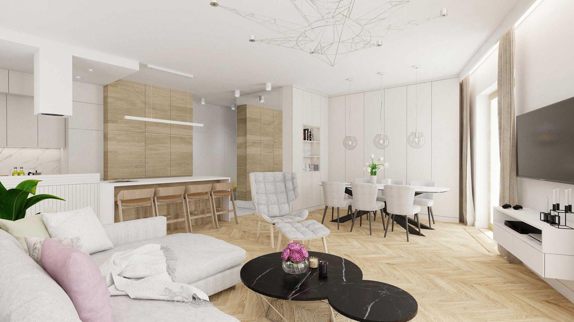Drewno na podłodze i ścianie - Apartament przy parku. Projekt: Twój Kwadrat Karolina Kobosko. Fot. Jawor-Parkiet