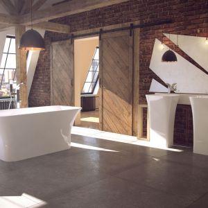 Wolnostojąca umywalka z serii Assos (proj. Marcin Jędrzak) charakteryzuje się nowoczesnym, geometrycznym kształtem; z materiału MineralBe. Fot. Besco