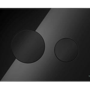 Czarna łazienka: szklane przyciski TECEloop szkło czarne klawisze. Fot. Tece