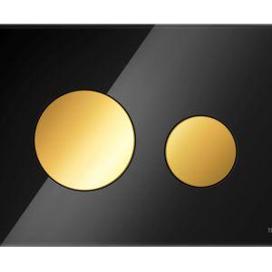 Czarna łazienka: szklane przyciski TECEloop szkło złote klawisze. Fot. Tece