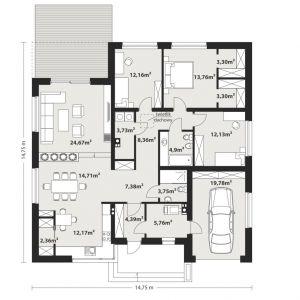 PARTER: 136,83 m2 1. wiatrołap – 4,39 m2 2. hol – 7,38 m2 3. kuchnia + jadalnia – 12,17 m2 4. salon – 24,67 m2 5. korytarz – 8,36 m2 6. pralnia – 3,73 m2 7. pokój – 12,16 m2 8. pokój – 13,76 m2 9. garderoba – 3,30 m2 10. garderoba – 3,30 m2 11. pokój – 12,13 m2 12. łazienka – 4,90 m2 13. łazienka – 3,75 m2 14. kotłownia – 5,76 m2 15. garaż* – 19,78 m2 16. spiżarnia – 2,36 m2 *pomieszczenia niewliczone do powierzchni użytkowej