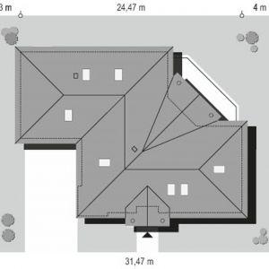 Usytuowanie domu na działce. Dom Willa Parkowa 6. Projekt: arch. Michał Gąsiorowski. Fot. MG Projekt