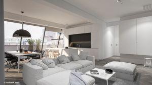 Minimalizm i otwarta przestrzeń to główne wyznaczniki aranżacji 150-metrowego apartamentu na warszawskim Mokotowie. Projekt i wizualizacje: Kosakowski Studio