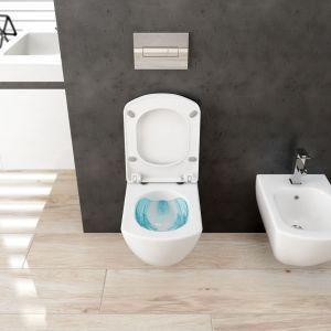 Bezrantowa miska Anemon Zero została zaprojektowana tak, aby można ją było skutecznie spłukać mniejszą ilością wody. Fot. Deante