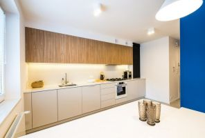 Surowość bieli przełamano wprowadzając jasne drewno i mocne akcenty kolorystyczne. Projekt i zdjęcia: Perfect Space