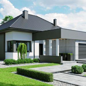 Projekt domu HomeKONCEPT 46 to doskonała propozycja dla właścicieli wąskich działek o szerokości 19,40 m, którzy cenią nowoczesną stylistykę. Pow. użytkowa: 124,86 m kw. + garaż 33,32 m kw. Fot. HomeKONCEPT