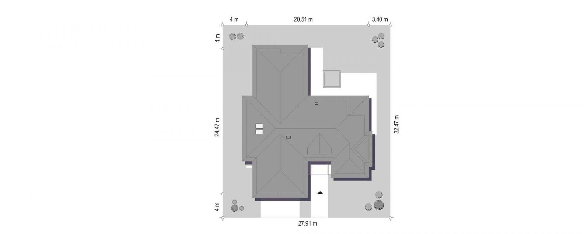 Usytuowanie domu na działce. Dom Wyjątkowy 22. Projekt: arach. Michał Gąsiorowski. Fot. MG Projekt