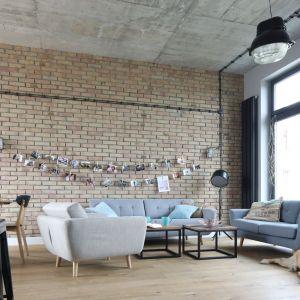 Piękna cegła doskonale wpisuje się w loftowy klimat wnętrza. Projekt: Maciejka Peszyńska-Drews. Fot. Bartosz Jarosz