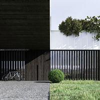 Aby uchronić wnętrze przed nadmiernym nasłonecznieniem, architekt zastosował na parterze drewniane, przestawne lamele. Projekt i wizualizacje: ANIEA - Andrzej Niegrzybowski architekt