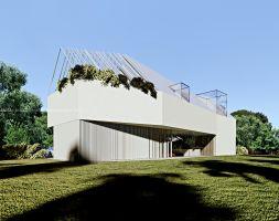Koncepcja budynku stanowi wynikową wytycznych projektowych określonych przez właściciela - uzależnionego od motoryzacji wielbiciela bieli we wszystkich jej odmianach. Projekt i wizualizacje: ANIEA - Andrzej Niegrzybowski architekt