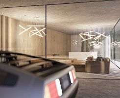 Parter stanowi jednolitą przestrzeń dzienną z garażem, salonem, kuchnią z jadalnią i otwartą klatką schodową bez wyraźnych, optycznych podziałów. Projekt i wizualizacje: ANIEA - Andrzej Niegrzybowski architekt