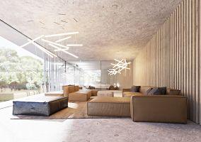 """Podczas gdy """"pokój aut"""" pozostaje raczej zacieniony, z subtelną grą światła i cienia prześlizgującego się pomiędzy pionowymi lamelami, salon jest mocno rozświetlony czy wręcz prześwietlony. Projekt i wizualizacje: ANIEA - Andrzej Niegrzybowski architekt"""