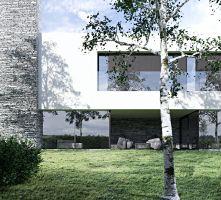 Formę, skalę, kolor oraz detal bryły domu dostosowano do kontekstu budynków sąsiednich. Projekt i wizualizacje: ANIEA - Andrzej Niegrzybowski architekt