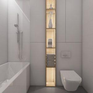 Zabudowana wnęka na sedesem jest niewidoczna, bo zlewa się z tłem ścian. W oczy rzuca się natomiast słupek z podświetlanymi półkami - wielka ozdoba tej łazienki. Fot. Pracownia Architektoniczna MGN