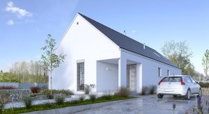 Mały i tani dom parterowy o powierzchni blisko 93 metrów kwadratowych. Spełni potrzeby rodziny 3 lub 4-osobowej.