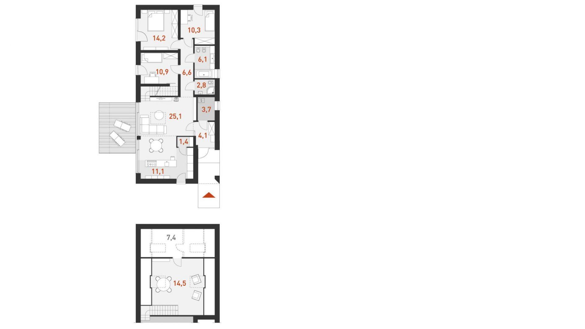 PARTER: 92,60 m2 1. wiatrołap-garderoba – 4,10 m2 2. spiżarnia – 1,40 m2 3. kuchnia – 11,10 m2 4. pokój dzienny + jadalnia – 25,10 m2 5. pokój – 10,90 m2 6. pokój – 14,20 m2 7. pokój – 10,30 m2 8. komunikacja – 6,60 m2 9. łazienka – 6,10 m2 10. łazienka – 2,80 m2 11. pom. gospodarcze - kotłownia* – 3,70 m2 PODDASZE: 21,90 m2 1. antresola – 14,50 m2 2. antresola – 7,40 m2 *pomieszczenia niewliczone do powierzchni użytkowej Rzut domu. Dom Ekonomiczny 1B. Projekt: arch. Krzysztof Borowski, arch. Piotr Rynkiewicz. Fot. Domy z wizją