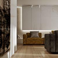 Proste, minimalistyczne fronty zabudowy meblowej pozwoliły wyeksponować komfortowe sofy w części wypoczynkowej. Projekt i wizualizacje: ANIEA - Andrzej Niegrzybowski architekt