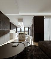 Elementy stałej zabudowy wykończone fornirem w kolorze ciemnego drewna mocno odcinają się na tle białych ścian. Projekt i wizualizacje: ANIEA - Andrzej Niegrzybowski architekt