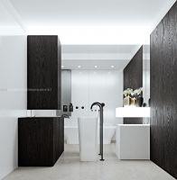 Wystrój łazienki konsekwentnie stworzono na zasadzie kontrastu ciemnego drewna i bieli. Projekt i wizualizacje: ANIEA - Andrzej Niegrzybowski architekt