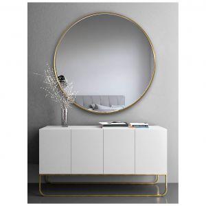 Okrągłe lustro w złotej ramie Scandi Slim. Fot. GieraDesign