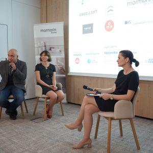 """Dyskusja podsumowująca blok tematyczny """"Zaprojektuj to - Technologie"""". Od lewej: Konrad Zabiełło (WSC Graphisoft), Anna Spalony (CAD Projekt K&A), Beata Michalik (redaktor Dobrze Mieszkaj)"""