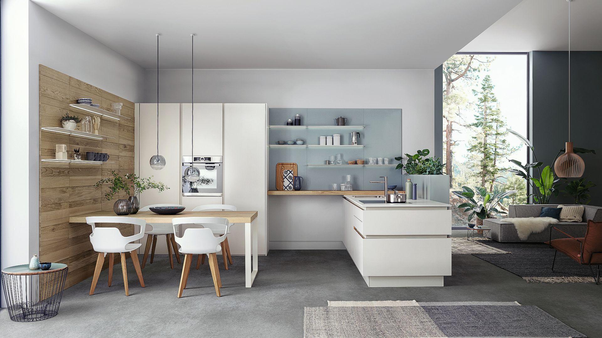 SOLID-C | VALAIS | CLASSIC-FS - kuchnia w kolorze białym zapewnia poczucie ponadczasowej elegancji, przytulnego ciepła i doskonałego kunsztu. Nacisk położono na drobno strukturyzowane drewno, które wykorzystano na wiele różnych sposobów. Fot. Leicht