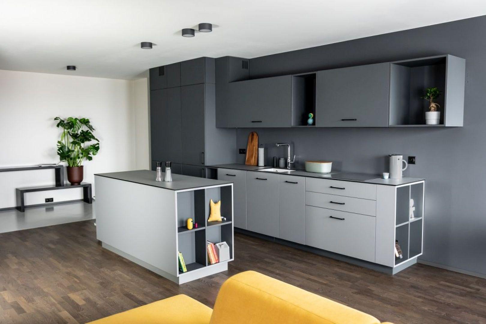 Właścicielowi mieszkania zależało na tym, żeby kuchnia nie dominowała, ale dyskretnie wtapiała się w otoczenie gubiąc po drodze swój kuchenny charakter. Projekt: Kasia Orwat. Fot. Dekorian Home