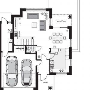 PARTER: 63,32 m2 1. sień – 4,20 m2 2. hol – 8,43 m2 3. wc – 1,80 m2 4. pokój dzienny + jadalnia – 36,72 m2 5. kuchnia – 12,15 m2 6. pom. gospodarcze* – 7,58 m2 7. garaż* – 33,49 m2 Dom Willa diamentowa. Projekt: arch. Michał Gąsiorowski. Fot. MG Projekt