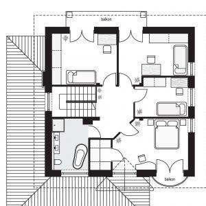 PODDASZE: 71,17 m2 1. hol – 7,92 m2 2. łazienka – 8,00 m2 3. sypialnia – 14,47 m2 4. sypialnia – 13,64 m2 5. sypialnia – 8,78 m2 6. sypialnia – 15,68 m2 7. garderoba – 2,68 m2 *pomieszczenia niewliczone do powierzchni użytkowej Dom Willa diamentowa. Projekt: arch. Michał Gąsiorowski. Fot. MG Projekt