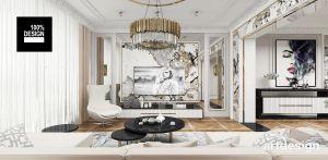 Luksusowa i wyszukana aranżacja salonu w rezydencji. Zgodnie z oczekiwaniami inwestora w projekcie wnętrza architekci połączyli elementy stylu klasycznego i nowoczesnego. Projekt i wizualizacja: ARTDESIGN biuro projektowe
