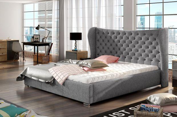 Modna sypialnia - łóżko tapicerowane w stylu glamour