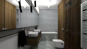 W długiej i dość wąskiej łazience architektki zmieściły kabinę natryskową, dwie umywalki, toaletę oraz wannę. Projekt i wizualizacje: mia architekci