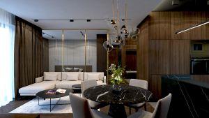 Salon w mieszkaniu w Rzeszowie. Projekt i wizualizacje: MACZ Architektura