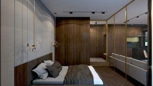 Sypialnia w mieszkaniu w Rzeszowie. Projekt i wizualizacje: MACZ Architektura