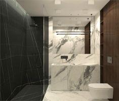 Łazienka w mieszkaniu w Rzeszowie. Projekt i wizualizacje: MACZ Architektura