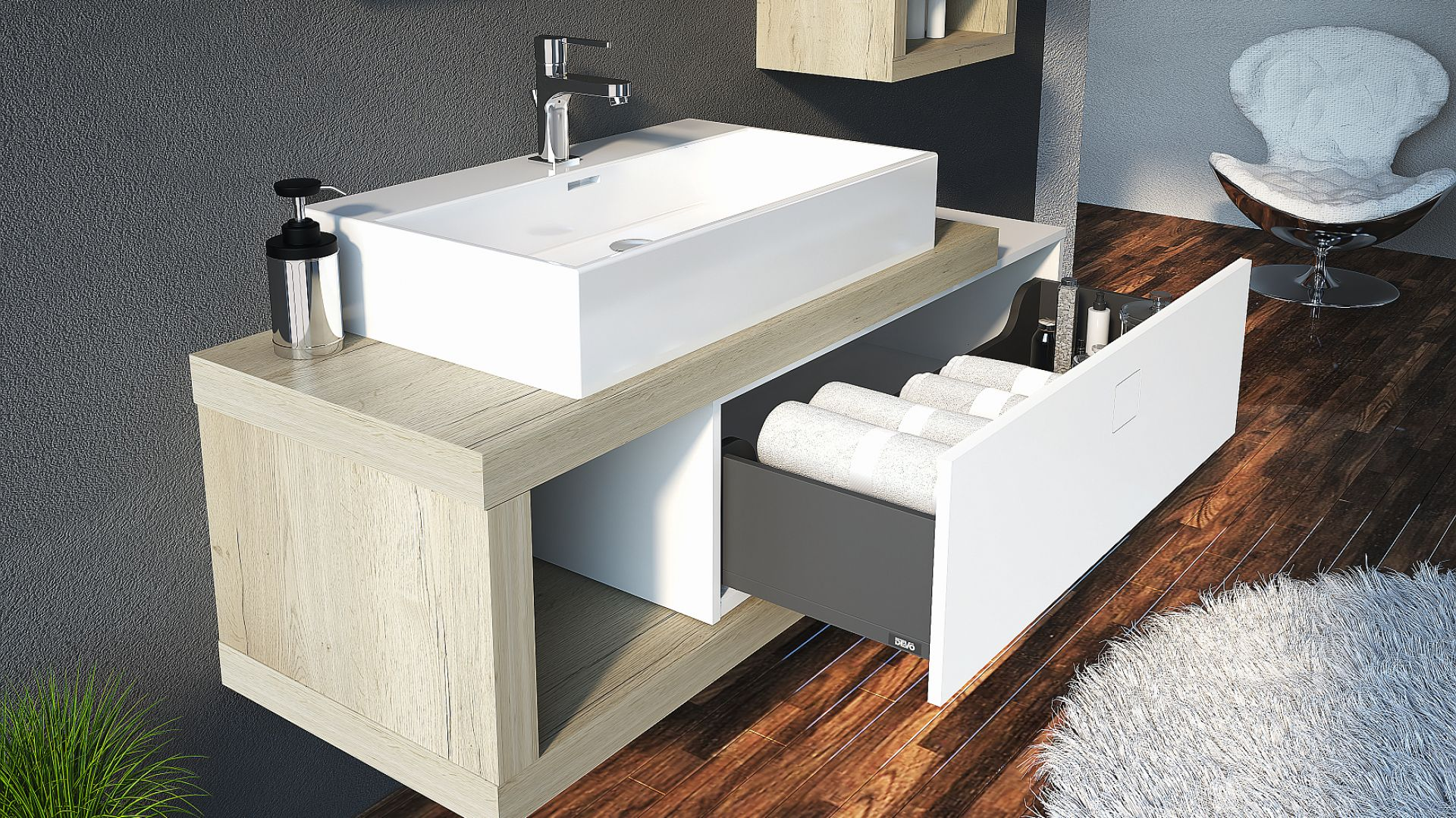Fifa – asymetryczna szafka pod umywalkę. To oryginalna konfiguracja kolorów i form; z pojemną szufladą i dodatkową otwartą półką pod blatem. Fot. Devo
