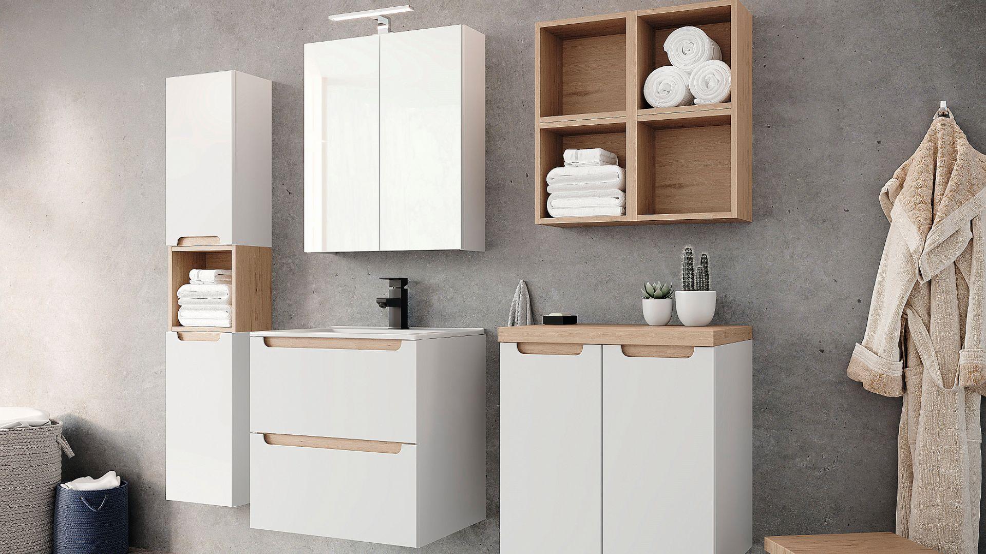 Stilla – modułowe meble łazienkowe, które można dowolnie zestawiać i łączyć z blatem, dopasowując je nawet do małych łazienek. Szuflady i drzwi wyposażone w system cichego domykania i prowadnice z pełnym wysuwem. Fot. Ø NAS