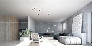 Aranżacja wnętrz mieszkania w Śródmieściu Gdyni opiera się na kompozycji stonowanych kolorów i materiałów. Projekt i wizualizacje: ANIEA - Andrzej Niegrzybowski architekt