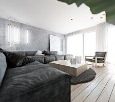 """W minimalistycznie urządzonym wnętrzu prym wiedzie bielony dąb i gres o barwie """"bianco carrara"""". Projekt i wizualizacje: ANIEA - Andrzej Niegrzybowski architekt"""