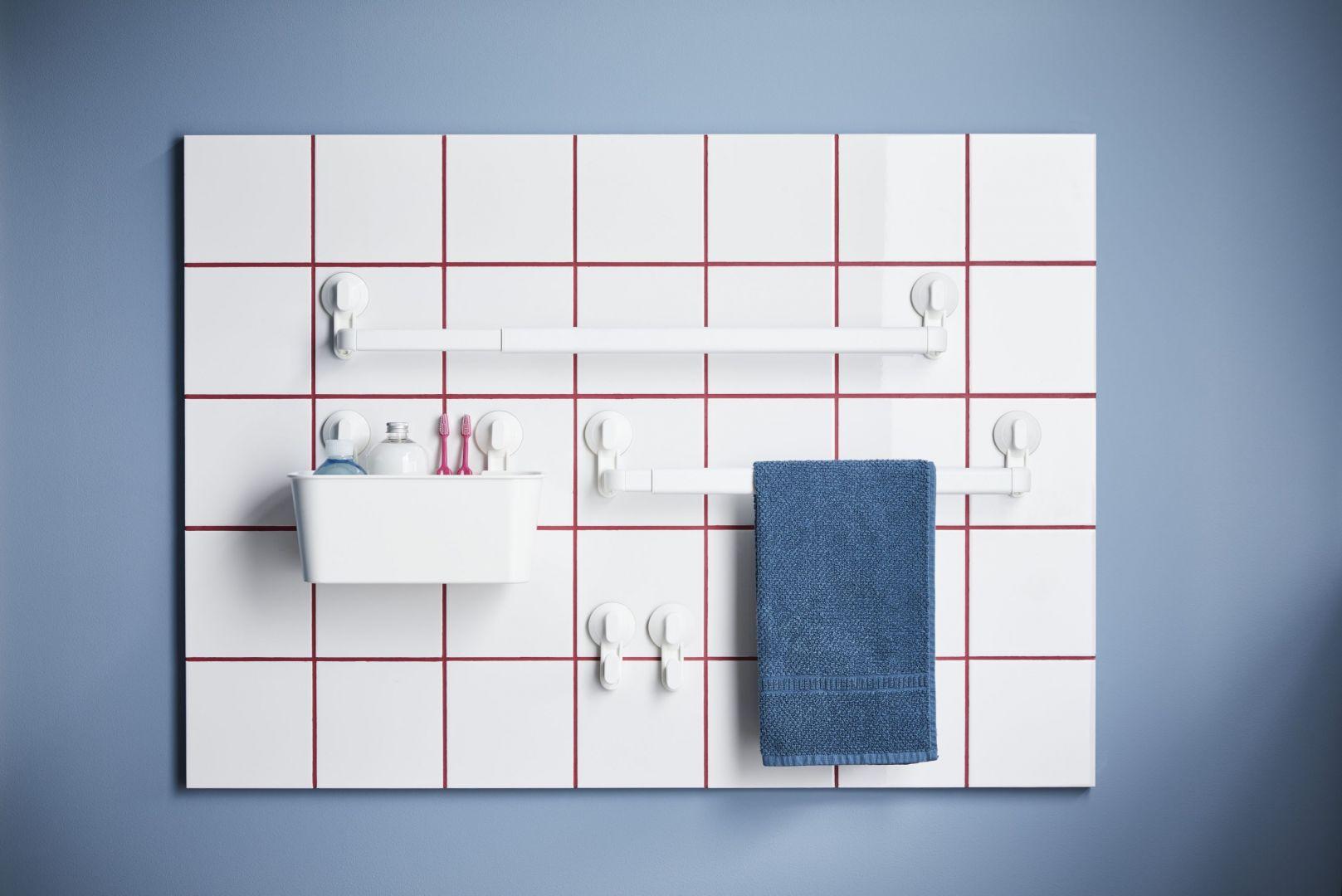 STUGVIK – kosz z przyssawkami  przybory toaletowe można zamocować np. na ścianie nad umywalką. Fot. IKEA,