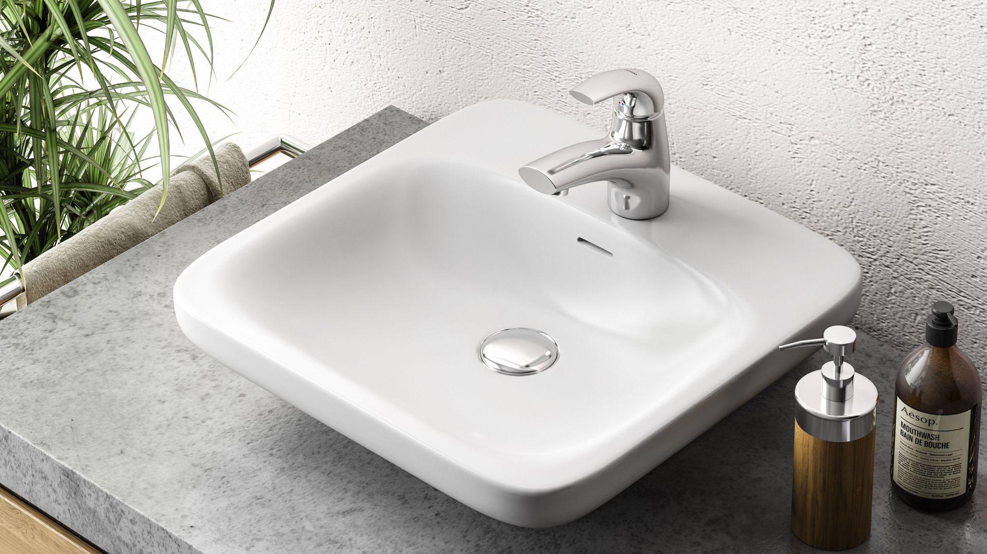 GENOVA VERDELINE – bateria umywalkowa stojąca o dyskretnej formie, sprawdzi się w komplecie z małą umywalką. Fot. Ferro
