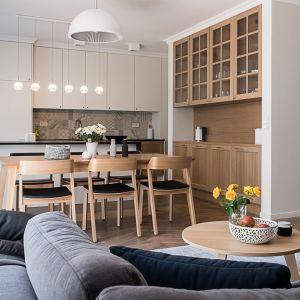 Salon połączony z kuchnią i jadalnią. Projekt: Jacek Tryc. Fot. Jacek Tryc - wnętrza