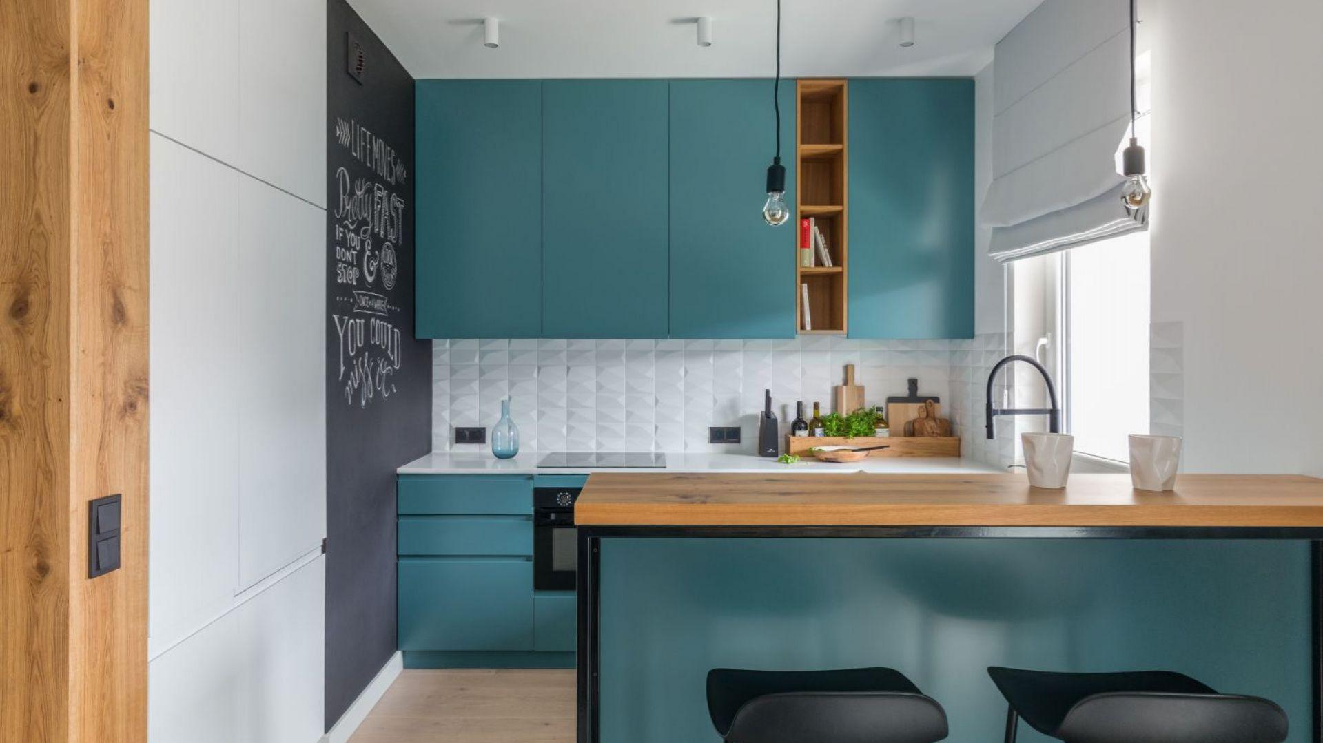 Salon połączony z kuchnią i jadalnią. Projekt: Alina Fabirowska. Fot. Pion Poziom Fotografia Wnętrz