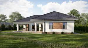 Piękny dom TK176 ma powierzchnię użytkową 136,25 m2. Funkcjonalny układ pomieszczeń ulokowanych na jednym poziomie sprawi, że będzie to idealny dom dla rodziny.