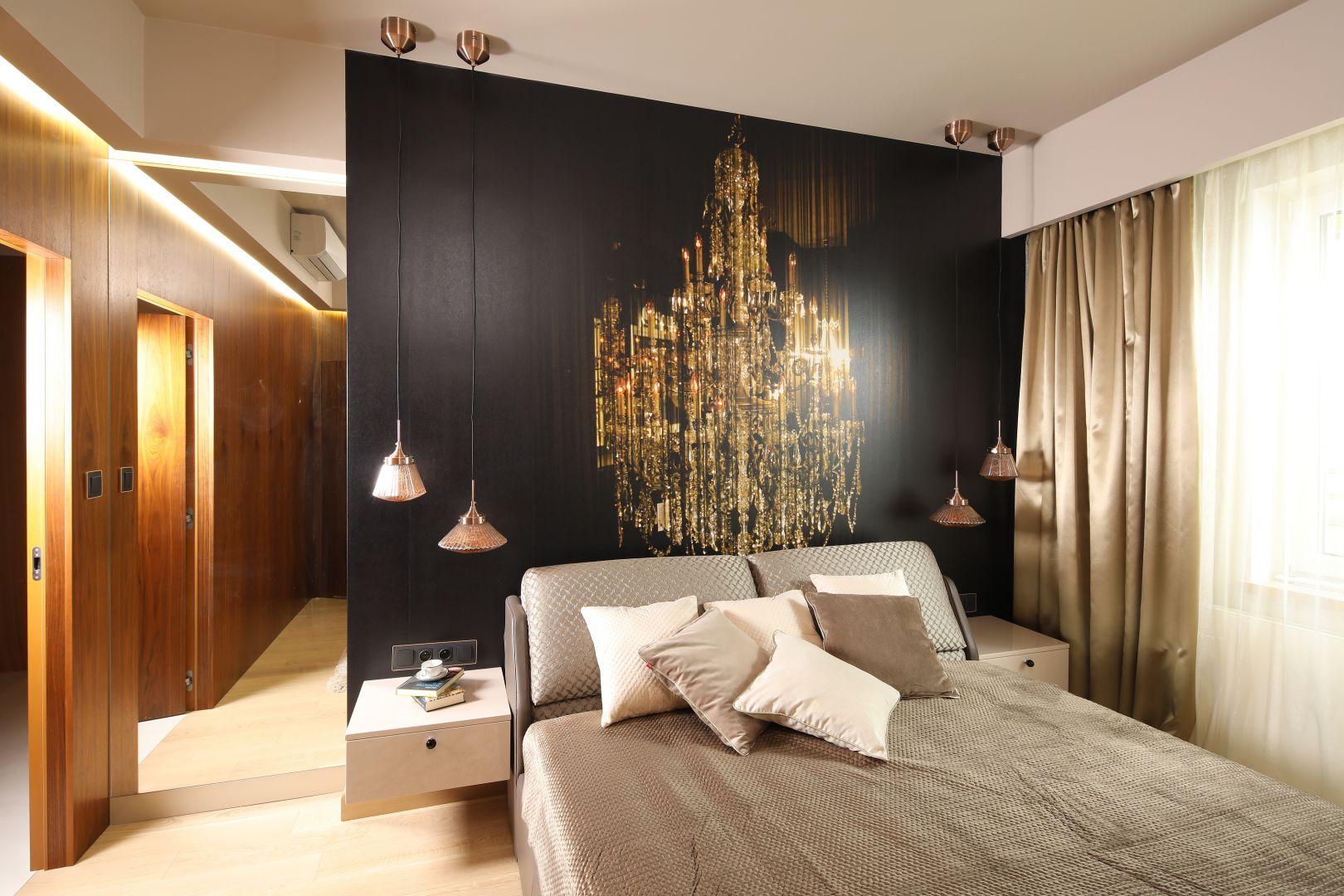 Łazienka przy sypialni. Projekt: Laura Sulzik. Fot. Bartosz Jarosz