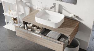 Umywalki nablatowe są dominującym trendem współczesnych łazienek. Organizują przestrzeń wokół umywalki oferując miejsce na odłożenie kosmetyków idają pełną dowolność w lokalizacji baterii.