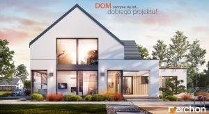 """Komfortowy """"Dom w aromach (G2)"""" to interesująca propozycja Pracowni ARCHON+. Starannie dobrane materiały elewacyjne oraz architektoniczne detale podkreślają jego nowoczesny i wyjątkowy wygląd."""