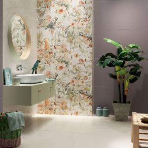 Płytka dekoracyjna Modern Pearl Parrots w połączeniu z płytką Cielo e Terra Violette 119,8x59,8 cm. Fot. Tubądzin