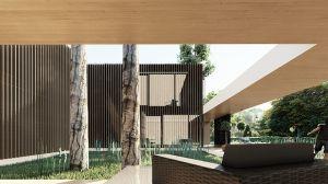 Dom oferuje mieszkańcom atrakcyjne przestrzenie wspólne w postaci kameralnego, zielonego dziedzińca. Projekt: modula architekci