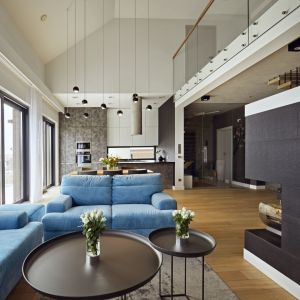 W salonie inwestorzy często podejmują gości, a kiedy są sami uwielbiają leniuchować przy kominku oglądając dobre filmy. Projekt: Kaza Interior Design. Fot. Dekorian Home